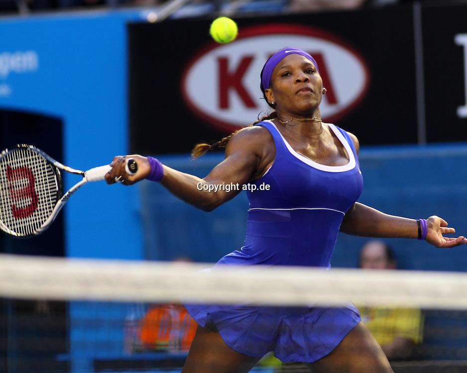 Tennis. Australian Open. Melbourne. Australia. Saturday 21.1.2012.<br /> Serena WILLIAMS (Usa) defeated Greta ATN (Hun) 6:1,6:1.<br /> &not;&copy; ATP/ Damir IVKA<br /> - Australian Open 2012 Melbourne - Rod Laver Arena - WOMEN - Australien - AUSTRALIE - copyright &not;&copy; ATP Damir IVKA