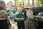 OHIO President and First Lady Nellis greet first year students and their families during move- in on East Green Thursday morning. Photo by Ben Siegel