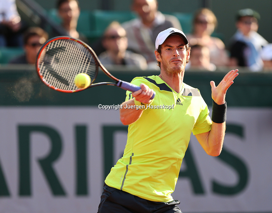 French Open 2014, Roland Garros,Paris,ITF Grand Slam Tennis Tournament,<br /> Andy Murray (GBR ),Aktion,Einzellbild,Halbkoerper,Querformat,
