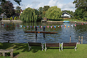 """Maidenhead, United Kingdom. """"Pre Racing Practice"""", Double.  """"Thames Punting Club Regatta"""", Bray Reach.<br /> 10:03:35 Sunday  06/08/2017<br /> <br /> [Mandatory Credit. Peter SPURRIER Intersport Images}.<br /> <br /> LEICA Q (Typ 116) 28mm  f2.2   1/5000 /sec    100 ISO River Thames, .......... Summer, Sport, Sunny, Bright, Blue Skies, Skilful,"""
