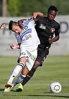 Fotball<br /> 01.07.2015<br /> Foto: Gepa/Digitalsport<br /> NORWAY ONLY<br /> <br /> SK Sturm Graz vs FC Midtjylland, test match. <br /> <br /> Image shows Kristijan Dobras (Sturm) and Babajide David (Midtjylland).