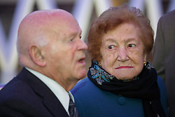 © licensed to London News Pictures. London, UK 27/01/2014. Holocaust survivors Ben Helfgott MBE and Sabina Miller launching the Holocaust Memorial Day at King's Cross Station to commemorate the Holocaust victims. Photo credit: Tolga Akmen/LNP