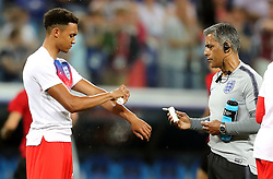 England's Trent Alexander-Arnold (left) sprats insect repellent before the FIFA World Cup Group G match at The Volgograd Arena, Volgograd.