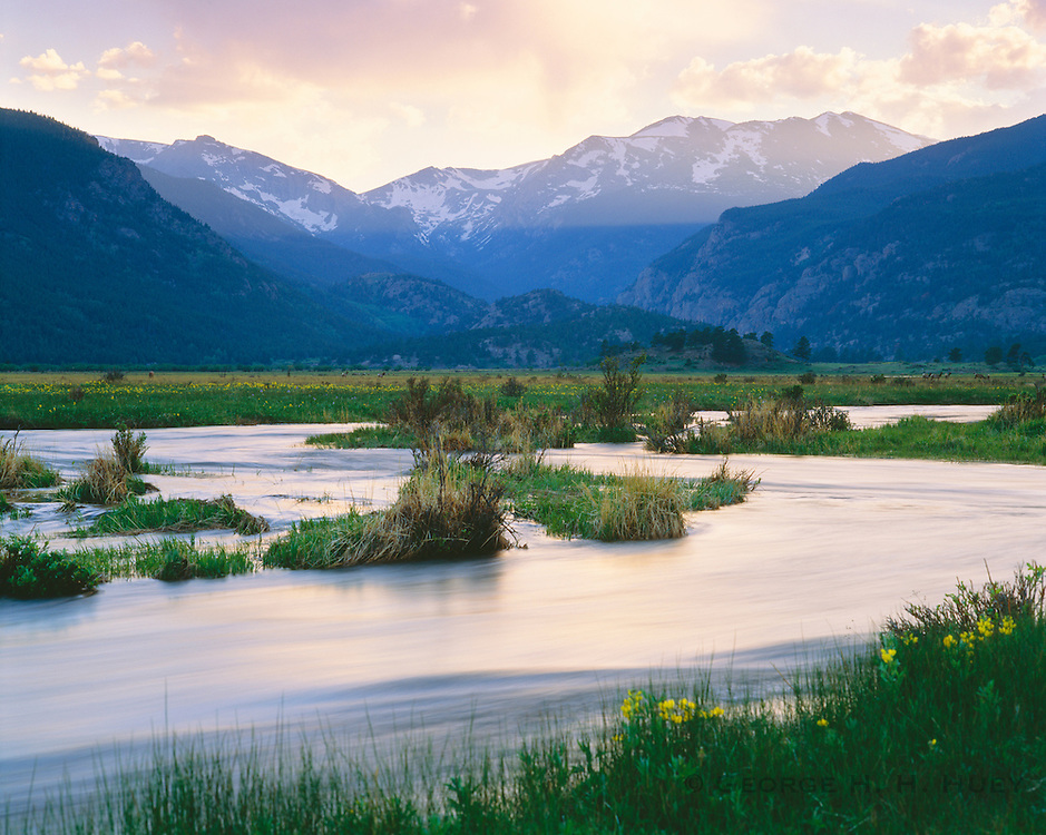 0406-1001 ~ Copyright: George H. H. Huey ~ Big Thompson River at Morraine Park, at sunset. Rocky Mountain National Park, Colorado.