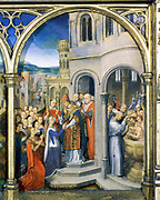 Shrine (Reliquary) of St Ursula, 1489. Gilded, painted wood. Hans Memling (1430/1440-1494) South Netherlandish painter.  St Ursula (4th century) and her 10,000 virgins received in Rome by the Pope. Pilgrimage Christian