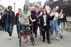 London, UK. 23rd April 2019. Jenny Jones, Baroness Jones of Moulsecoomb, accompanies ten climate change activists from Extinction Rebellion to deliver letters to Members of Parliament requesting meetings to discuss the issue of climate change.