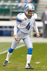 Dec 18, 2011; Oakland, CA, USA; Detroit Lions kicker Jason Hanson (4) warms up before the game against the Oakland Raiders at O.co Coliseum. Detroit defeated Oakland 28-27. Mandatory Credit: Jason O. Watson-US PRESSWIRE