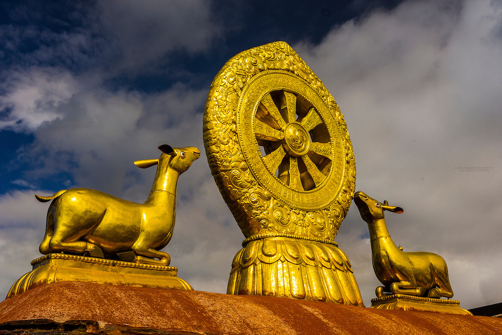 The Golden Wheel of Dharma and Deer sculpture, The Jokhang Temple (most sacred temple in Tibet), Lhasa, Tibet (Xizang), China.
