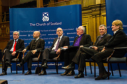 Pictured: Iain Gray, Patrick Harvey, John Swinney, John Chalmers, Moderator of the Church of Scotland, Annabel Goldie and Willie Rennie<br /> <br /> The People Politics Hustings,  organised by the Church of Scotland, allowed voters to question SNP deputy John Swinney, Scottish Labour leader Kezia Dugdale, Scottish Liberal Democrat leader Willie Rennie, Scottish Greens co-convener Patrick Harvie and former Scottish Conservatives leader Annabel Goldie ahead of the Scottish Elections. Before the politicians had a chance to speak they had a chance to listen to five speakers with different viewpoints on how Scotland has supported them in the past and how it should support them in the future..<br /> Ger Harley | EEm 4 April 2016