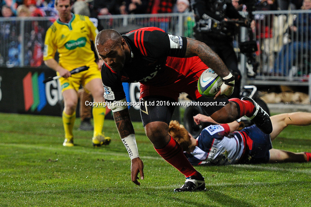 Nemani Nadolo of the Crusaders scores a try during the Super Rugby Match, Crusaders V Rebels, AMI Stadium, Christchurch, New Zealand. 9th July 2016. Copyright Photo: John Davidson / www.photosport.nz