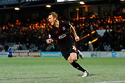 Carlisle Utd's Mark Ellis celebrates after scoring the decisive penalty in the shoot-out after the match finished 0-0 during the The FA Cup Third Round Replay match between Yeovil Town and Carlisle United at Huish Park, Yeovil, England on 19 January 2016. Photo by Graham Hunt.