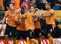 Photo: Steve Bond/Richard Lane Photography. Wolverhampton Wanderers v Aston Villa. Barclays Premiership 2009/10. 24/10/2009. Sylvan Ebanks-Blake is congratulated