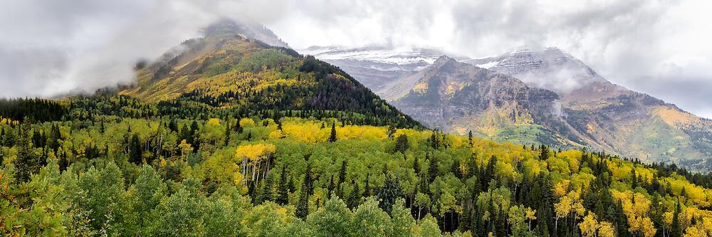 Panoramic view of the Alpine Loop during Fall colors in Utah.