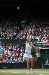 LONDON, ENGLAND - Thursday, June 30, 2011: Petra Kvitova (CZE) in action during the Ladies' Singles Semi-Final match on day ten of the Wimbledon Lawn Tennis Championships at the All England Lawn Tennis and Croquet Club. (Pic by David Rawcliffe/Propaganda)