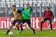 ALKMAAR - 15-02-2017, AZ - Olympique Lyon, AFAS Stadion, training, AZ speler Muamer Tankovic, AZ speler Jonas Svensson, AZ keeper Tim Krul
