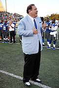Pro Football Hall of Fame President & Executive Director David Baker announces the cancellation of the Indianapolis Colts 2016 NFL Pro Football Hall of Fame preseason football game against the Green Bay Packers on Sunday, Aug. 7, 2016 in Canton, Ohio. The game was canceled for player safety reasons due to the condition of the paint on the turf field. (©Paul Anthony Spinelli)