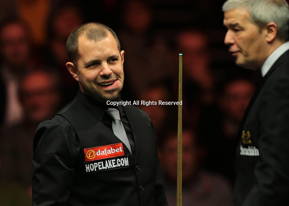 16.01.2016.  Alexandra Palace, London, England. Masters Snooker. Semi Finals. Barry Hawkins reacts during the eighth frame after missing a red