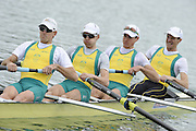 Munich, GERMANY. AUS LM4-. Bow Antony EDWARDS, Samuel BELTZ, Blair TUNEVITSCH and Todd SKIPWORTH. 2010 FISA World Cup. Olympic Rowing Course, Munich.  Friday  18/06/2010   [Mandatory Credit Peter Spurrier/ Intersport Images]