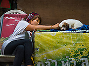 16 NOVEMBER 2015 - BANGKOK, THAILAND:  A woman being evicted from her home plays with one of her dogs in the Wat Kalayanamit neighborhood. She is one of the last people living in the neighborhood. Fifty-four homes around Wat Kalayanamit, a historic Buddhist temple on the Chao Phraya River in the Thonburi section of Bangkok, are being razed and the residents evicted to make way for new development at the temple. The abbot of the temple said he was evicting the residents, who have lived on the temple grounds for generations, because their homes are unsafe and because he wants to improve the temple grounds. The evictions are a part of a Bangkok trend, especially along the Chao Phraya River and BTS light rail lines. Low income people are being evicted from their long time homes to make way for urban renewal.          PHOTO BY JACK KURTZ