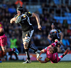 Mitch Lees of Exeter Chiefs takes on the London Welsh defence - Photo mandatory by-line: Patrick Khachfe/JMP - Mobile: 07966 386802 07/03/2015 - SPORT - RUGBY UNION - Exeter - Sandy Park - Exeter Chiefs v London Welsh - Aviva Premiership