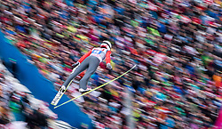 04.01.2015, Bergisel Schanze, Innsbruck, AUT, FIS Ski Sprung Weltcup, 63. Vierschanzentournee, Innsbruck, Probesprung, im Bild Simon Ammann (SUI) // Simon Ammann of Switzerland soars trought the air during his Trial Jump for the 63rd Four Hills Tournament of FIS Ski Jumping World Cup at the Bergisel Schanze in Innsbruck, Austria on 2015/01/04. EXPA Pictures © 2015, PhotoCredit: EXPA/ JFK