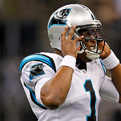 January 1, 2012; New Orleans, LA, USA; Carolina Panthers quarterback Cam Newton (1) against the New Orleans Saints during the first half of a game at the Mercedes-Benz Superdome. Mandatory Credit: Derick E. Hingle-US PRESSWIRE
