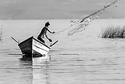 Fisherman casting net on Lake Chapala, Jalisco, Mexico