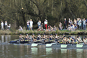 Henley, GREAT BRITAIN,  Oxford Women's lightweigths passing Upper Thames RC. on they way to victory in the  at the 2012 Henley Boat Races, Henley on Thames, England, Sunday  25/03/2012. [Mandatory Credit, Peter Spurrier/Intersport-images]