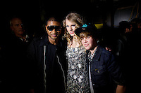 Usher, Taylor Swift, and Justin Bieber backstage at the 2009 Z100's Jingle Ball at Madison Square Garden in New York. ..(Photo by Robert Caplin)..