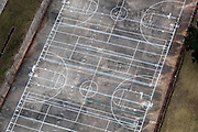 aerial view of concrete basketball courts at Bonnabel High School in Kenner, Louisiana