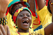 Fans from Ghana national supporters club singing during  Ghana V Morocco. African Cup of Nations 2008. Ohene Djan Stadium. Accra. Ghana. West Africa..28th January 2008..©Picture Demelza Cloke.  07939 108077. www.lightfootphoto.co.uk