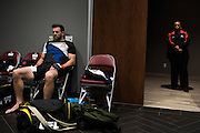Ryan Bader waits backstage for his fight against Rashad Evans during UFC 192 at the Toyota Center on October 3, 2015 in Houston, Texas.