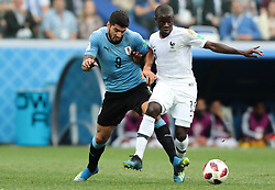 July 6, 2018 - Nizhny Novgorod, U.S. - NIZHNY NOVGOROD, RUSSIA - JULY 06: forward Luis Suarez of Uruguay in action with midfielder N'Golo Kante of France during the Quarter-Final match between Uruguay and France in the 2018 FIFA World Cup on July 6, 2018, at Nizhny Novgorod Stadium in Nizhny Novgorod, Russia. (Photo by Anatoliy Medved/Icon Sportswire) (Credit Image: © Anatoliy Medved/Icon SMI via ZUMA Press)