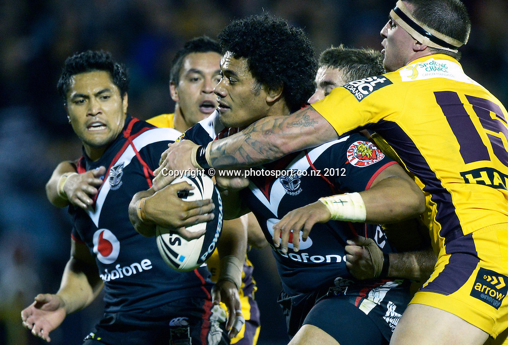 Sione Lousi during the NRL Rugby League match, Vodafone Warriors v Brisbane Broncos at Mt Smart Stadium, Auckland, New Zealand on Saturday 5 May 2012. Photo: Andrew Cornaga/photosport.co.nz