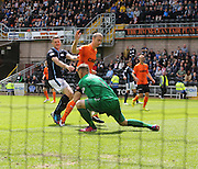 Dundee United's Radoslaw Cierzniak saves at the feet of Dundee's Jim McAlister - Dundee United v Dundee at Tannadice Park in the SPFL Premiership<br /> <br />  - © David Young - www.davidyoungphoto.co.uk - email: davidyoungphoto@gmail.com