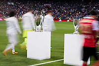 Real Madrid's and Stade de Reims's players between the Real Madrid's  Europe Supercup Champions League Cup during the XXXVII Santiago Bernabeu Trophy in Madrid. August 16, Spain. 2016. (ALTERPHOTOS/BorjaB.Hojas)