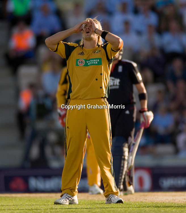 Bowler Shane Watson agonises during the first (day/night) one day international between England and Australia at the Rose Bowl, Southampton.  Photo: Graham Morris (Tel: +44(0)20 8969 4192 Email: sales@cricketpix.com) 22/06/10