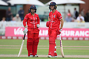 Lancashire Thunders Nicole Bolton & Lancashire Thunders Eve Jones await a decision during the Women's Cricket Super League match between Lancashire Thunder and Surrey Stars at the Emirates, Old Trafford, Manchester, United Kingdom on 7 August 2018.