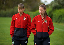 ALHAURÍN EL GRANDE, SPAIN - TUESDAY, MARCH 5, 2019: Wales' Gemma Evans (L) and goalkeeper Claire Skinner during a pre-match team walk at the at Alhaurin Golf Resort in Spain. (Pic by David Rawcliffe/Propaganda)