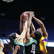 UNCASVILLE, CONNECTICUT- May 2:  Avery Warley-Talbert #32 of the Los Angeles Sparks challenges for the rebound with Brittany Boyd #15 of the New York Liberty  during the Los Angeles Sparks Vs New York Liberty, WNBA pre season game at Mohegan Sun Arena on May 2, 2017 in Uncasville, Connecticut. (Photo by Tim Clayton/Corbis via Getty Images)