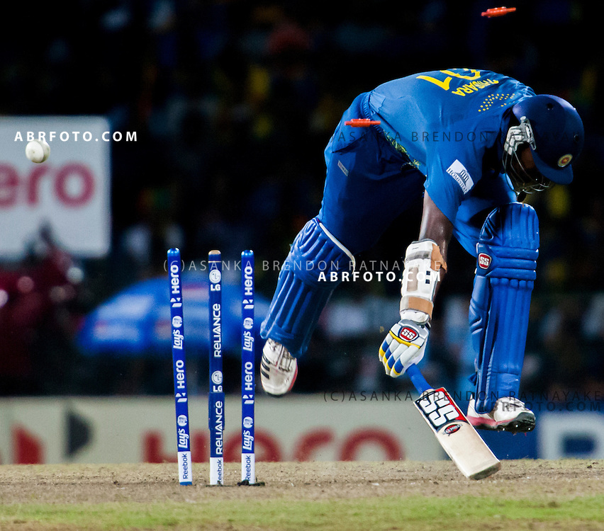 Sri Lankan Thisara Perera gets run out  during the World T20 Cricket Mens Final match between Sri Lanka Vs West Indies at the R Premadasa International Cricket Stadium, Colombo. Photo credit : Asanka Brendon Ratnayake