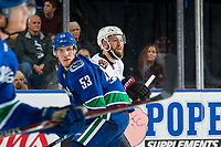 KELOWNA, BC - SEPTEMBER 29: Bo Horvat #53 of the Vancouver Canucks looks for the puck after the face-off against the Arizona Coyotes at Prospera Place on September 29, 2018 in Kelowna, Canada. (Photo by Marissa Baecker/NHLI via Getty Images)  *** Local Caption *** Bo Horvat;