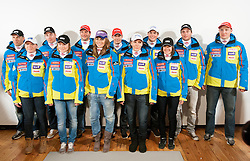 Ski Team: Mitja Valencic, Marusa Ferk, Matic Skube, Ana Drev, Andrej Jerman, Tina Maze, Janez Jazbec, Ilka Stuhec, Bostjan Kline, Tina Robnik, Rok Perko and Andrej Sporn during media day of Ski Association of Slovenia before new winter season 2012/13, on October 13, 2012, in Cerklje na Gorenjskem, Slovenia. (Photo by Vid Ponikvar / Sportida)