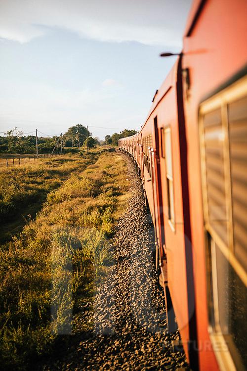 A train cuts through the arid landscape of northern Sri Lanka on its way to Jaffna, Asia