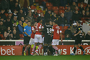 Players of Barnsley F.C. and Bristol City clash during the EFL Sky Bet Championship match between Barnsley and Bristol City at Oakwell, Barnsley, England on 1 November 2019.