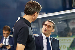 September 26, 2018 - Ernesto Valverde of FC Barcelona saludates to Pellegrino of Leganes during the La Liga (Spanish Championship) football match between CD Leganes and FC Barcelona on September 26th, 2018 at Municipal Butarque stadium in Madrid, Spain. (Credit Image: © AFP7 via ZUMA Wire)