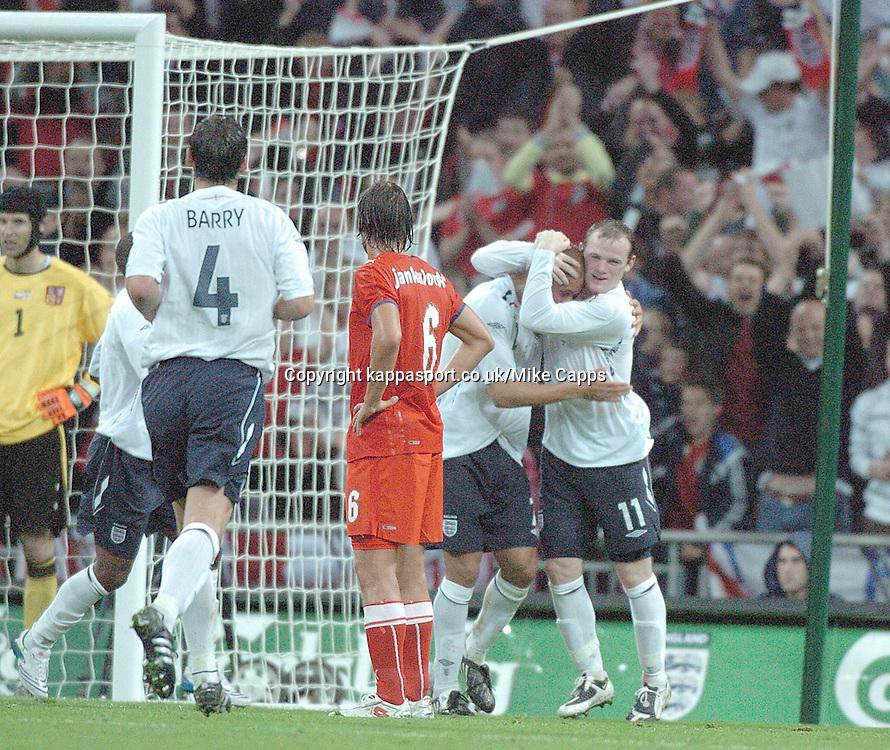 WAYNE ROONEY CELEBRATES WITH GOAL SCORER WES BROWN AFTER SCORING ENGLANDS EQUALISER, ENGLAND v CZECH REPUBLIC, International Friendly, Wembley Stadium Wednesday 20th August 2008
