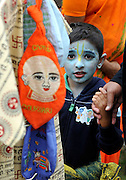 WATFORD HERTFORDSHIRE: A young boy, with his face painted to represent Lord Krishna. Over 55,000 pilgrims and guests visit the Largest Hindu Festival in Europe at Bhaktivedanta Manor Krishna Temple near Watford on Sunday 5th September to celebrate Janmashtami the birth of Lord Krishna. The Manor was donated to the Hare Krishna Movement in the early 1970s by former Beatle George Harrison. 03 SEPT 2010. STEPHEN SIMPSON ..