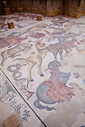 Mosaics of the Villa Imperiale del Casale near Piazza Italy on the Island of Sicily.