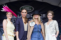 *** Exclusive to the Independent*** Repro Free: Punchestown 05/05/2014 RTE's Nuala Carey and Model Roz Purcell are pictured with Emer Flanagan from Naas winner of the Land Rover Style Award at the Punchestown Racing Festival pictured and Amy Huberman. Picture Andres Poveda